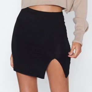 "Nasty Gal ""Wait a Mini Slit Skirt"""